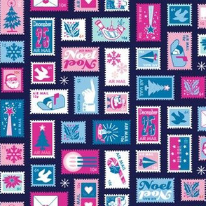 Book of Christmas Stamps* (Pinks & Blues on Jackie Blue) || stamp mail postage special delivery holiday holidays greetings cards postal service snail airmail par avian tree holly star Santa Claus snowflake vintage