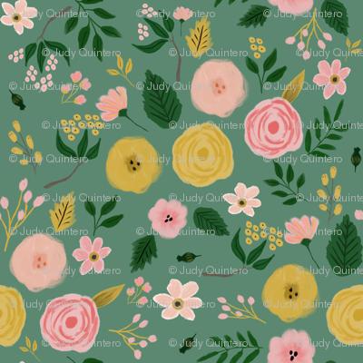 """21"""" Adley Bouquet - Green"""