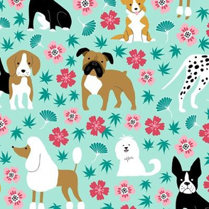 Dogs with chinese florals and leaves on mint