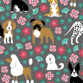 Dogs with chinese florals and leaves on gray