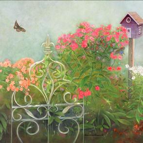 Panel Art of Tall Phlox and Butterflies
