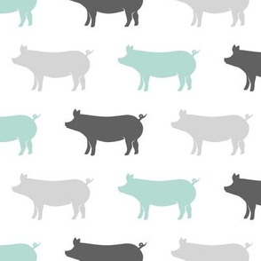multi pigs - dark mint and grey