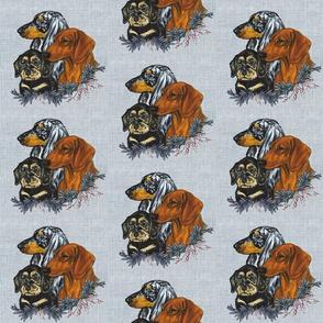 dachshunds on linen