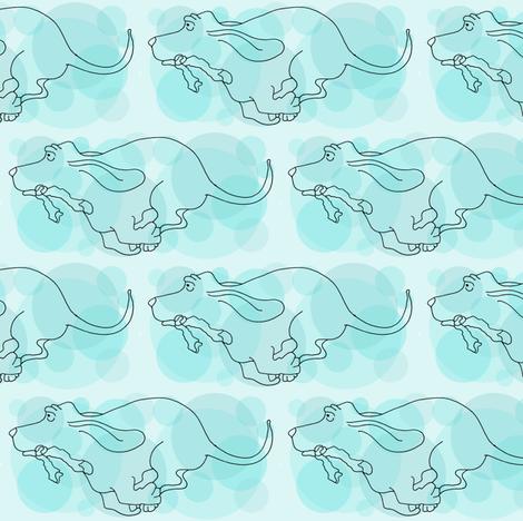 Basset Hounds in Teal or Dark Aqua fabric by toni_elaine on Spoonflower - custom fabric