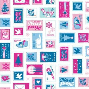 Book of Christmas Stamps* (Pinks & Blues on White) || stamp mail postage special delivery holiday holidays greetings cards postal service snail airmail par avian tree holly star Santa Claus snowflake vintage
