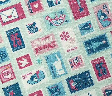 Book of Christmas Stamps* (Pinks & Blues on Cola Bottle) || stamp mail postage special delivery holiday holidays greetings cards postal service snail airmail par avian tree holly star Santa Claus snowflake vintage