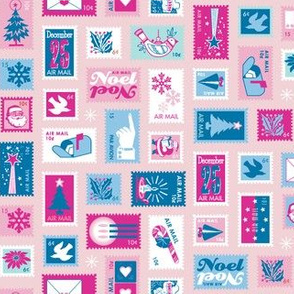 Book of Christmas Stamps* (Pinks & Blues on Capote) || stamp mail postage special delivery holiday holidays greetings cards postal service snail airmail par avian tree holly star Santa Claus snowflake vintage