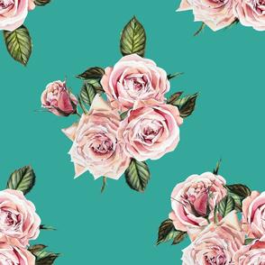 """21"""" Wild Child Roses - Aqua"""