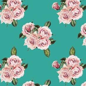 """4"""" Wild Child Roses - Aqua"""