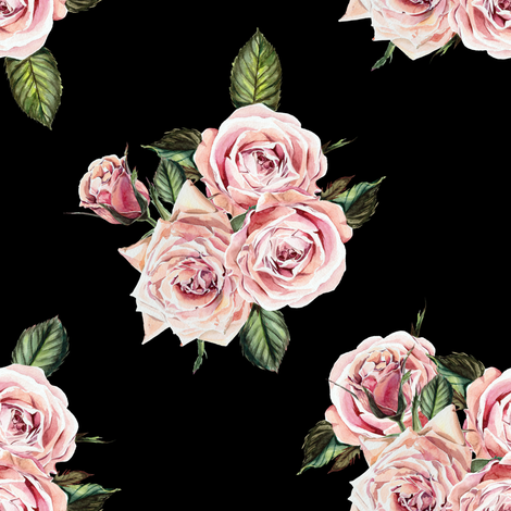 "8"" Wild Child Roses - Black fabric by shopcabin on Spoonflower - custom fabric"