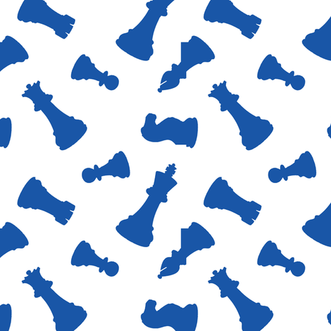 Blue Chess Pieces fabric by thinlinetextiles on Spoonflower - custom fabric