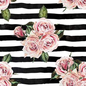 "21"" Wild Child Roses - Black and White Stripes"