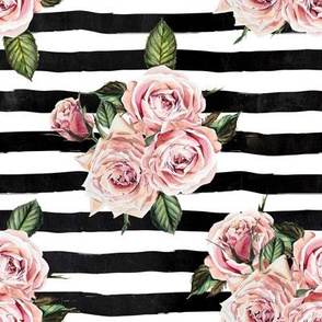 "8"" Wild Child Roses - Black and White Stripes"