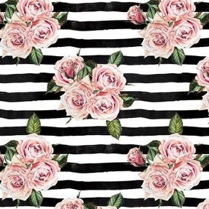 "4"" Wild Child Roses - Black and White Stripes"