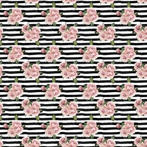 "1.5"" Wild Child Roses - Black and White Stripes"