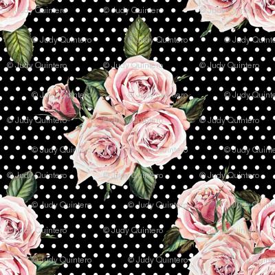 "21"" Wild Child Roses - Black and White Polka Dots"