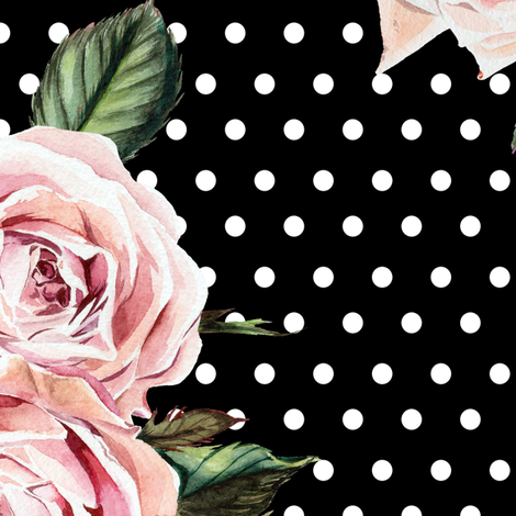 """21"""" Wild Child Roses - Black and White Polka Dots fabric by shopcabin on Spoonflower - custom fabric"""