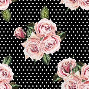 "21"" Wild Child Roses - Black and White Polka Dots"