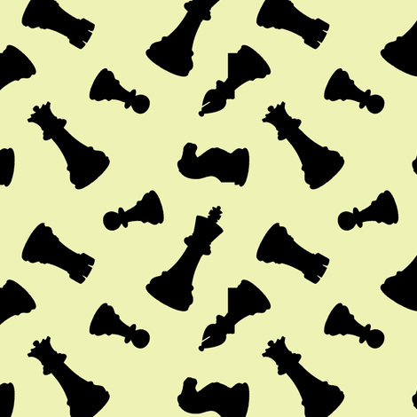 Chess Pieces // Yellow fabric by thinlinetextiles on Spoonflower - custom fabric