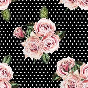 "8"" Wild Child Roses - Black and White Polka Dots"