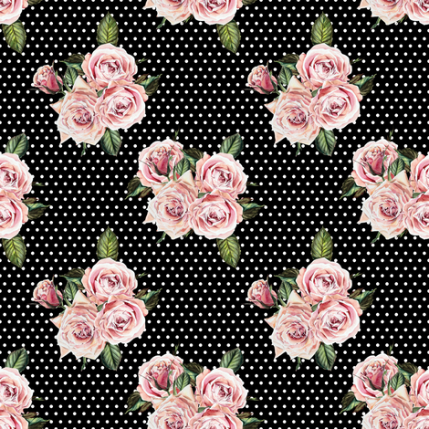 "4"" Wild Child Roses - Black and White Polka Dots fabric by shopcabin on Spoonflower - custom fabric"