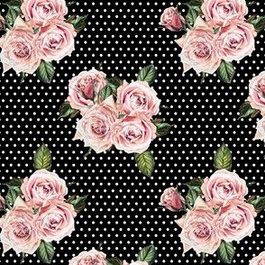 "4"" Wild Child Roses - Black and White Polka Dots"