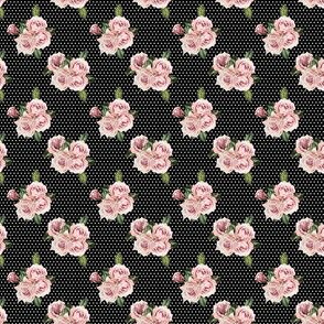 "1.5"" Wild Child Roses - Black and White Polka Dots"