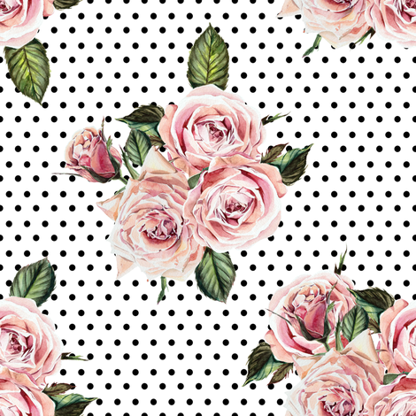 """8"""" Wild Child Roses - White with Black Polka Dots fabric by shopcabin on Spoonflower - custom fabric"""