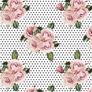 "4"" Wild Child Roses - White with Black Polka Dots"