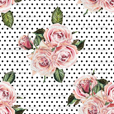 "1.5"" Wild Child Roses - White with Black Polka Dots"