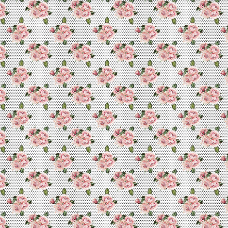 "1.5"" Wild Child Roses - White with Black Polka Dots fabric by shopcabin on Spoonflower - custom fabric"