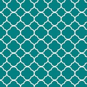 Quartrefoil in Teal and White