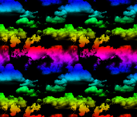 Rainbow Clouds on Black fabric by wickedrefined on Spoonflower - custom fabric