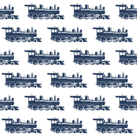 Navy Blue Steam Engines // Small fabric by thinlinetextiles on Spoonflower - custom fabric