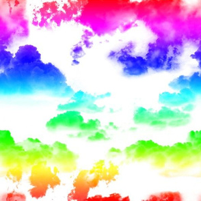 Rainbow Clouds on White