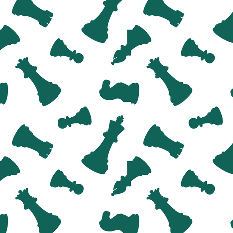 Green Chess Pieces fabric by thinlinetextiles on Spoonflower - custom fabric