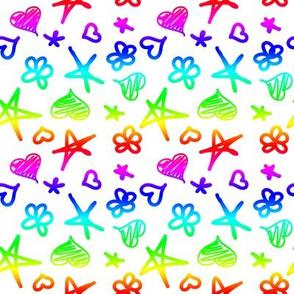 Rainbow Doddle on White