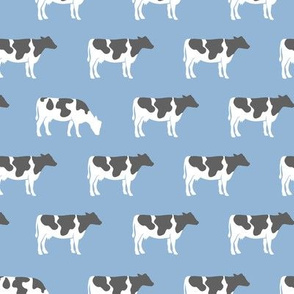 cows on blue - farm fabric