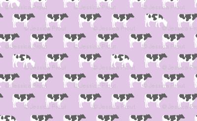 cows on purple - farm fabric