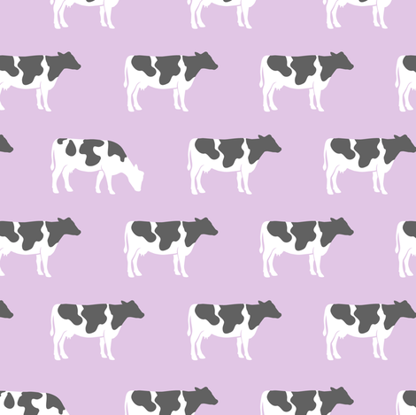 cows on purple - farm fabric fabric by littlearrowdesign on Spoonflower - custom fabric
