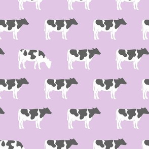 cows on purple - farm fabric