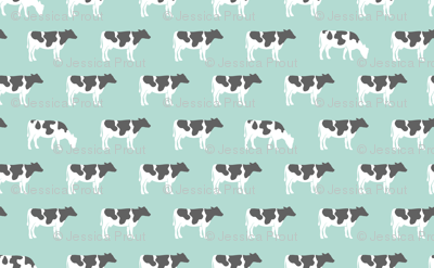 cows on dark mint - farm fabric