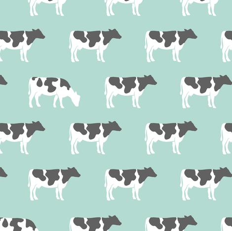 cows on dark mint - farm fabric fabric by littlearrowdesign on Spoonflower - custom fabric