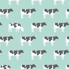 cows on dark mint - farm fabric