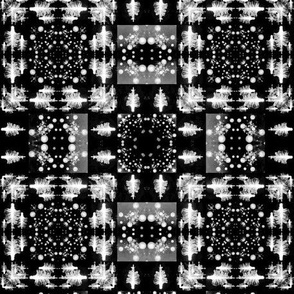Black and white forest plaid
