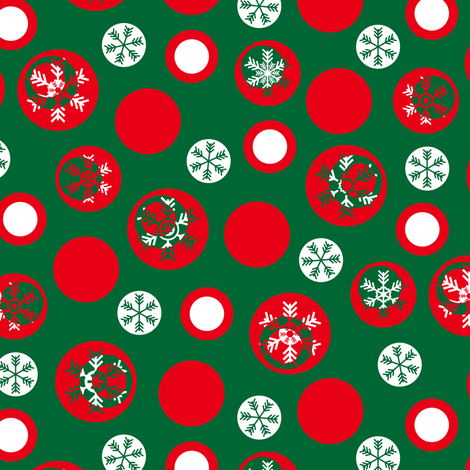 Circled Frosty Mod Green Red White fabric by wickedrefined on Spoonflower - custom fabric