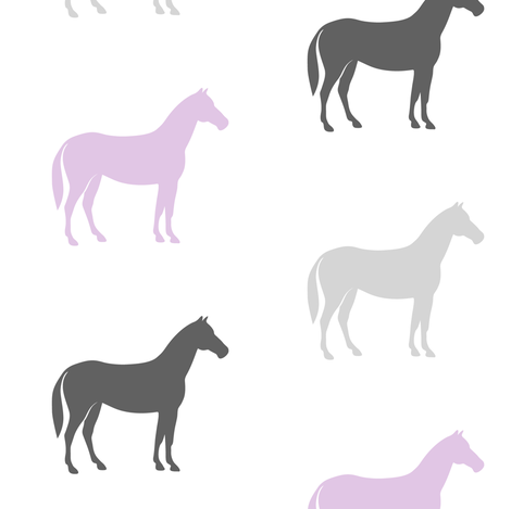 multi horses - grey and purple farm collection fabric by littlearrowdesign on Spoonflower - custom fabric