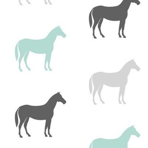 multi horses - grey and dark mint farm collection