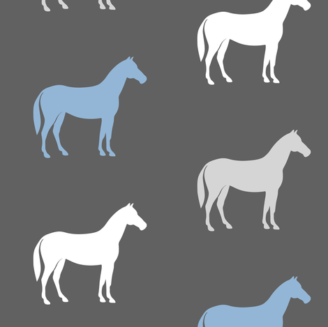 multi horses on grey - grey and blue  farm collection fabric by littlearrowdesign on Spoonflower - custom fabric