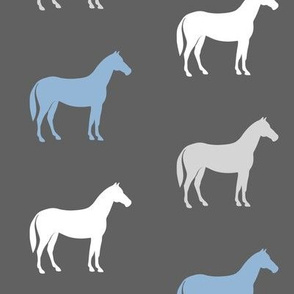 multi horses on grey - grey and blue  farm collection